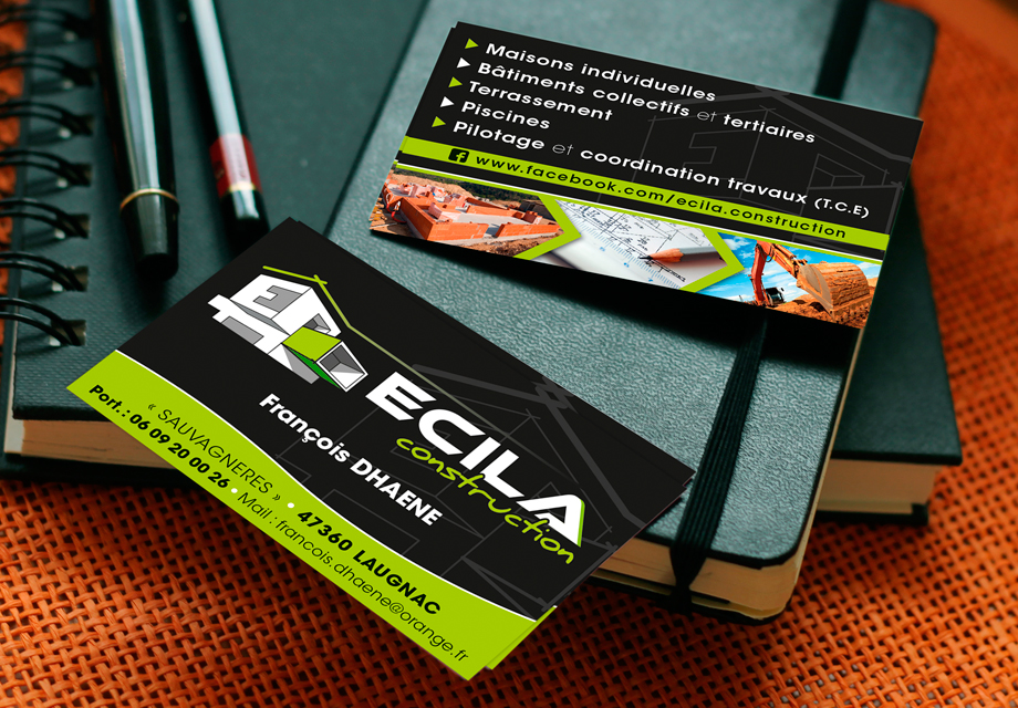 Ecila Construction Carte de visite B'com