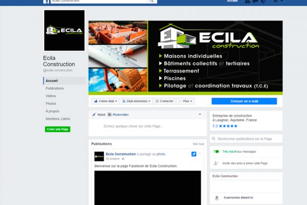 Ecila Construction page facebook B'com